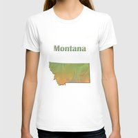 montana T-shirts featuring Montana Map by Roger Wedegis