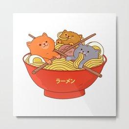 Ramen and cat Metal Print