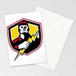 Electrician Thunderbolt Crest Mascot Stationery Cards