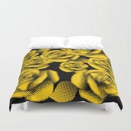 Yellow Halftone Roses Duvet Cover