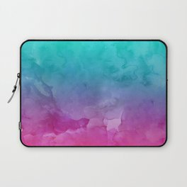 Modern bright summer turquoise pink watercolor ombre hand painted background Laptop Sleeve