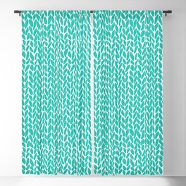 Hand Knit Aqua Blackout Curtain