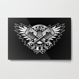 Crossed Pistons and Wings with Stars and Stripes Logo for the Car and Motorcycle Enthusiast Metal Print