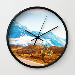 Wildlife, Animals Nature Travel Landscape Painting, Snow Moon Wanderlust Forest Antelopes Wall Clock