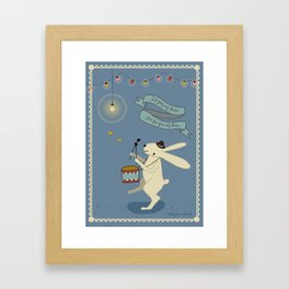 Rabbit on drums Framed Art Print