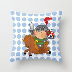 little knight with his horse Throw Pillow
