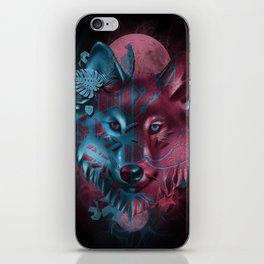 wolf art decor black iPhone Skin