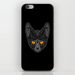 Gray Day of the Dead Sugar Skull Cat iPhone Skin