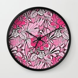 Hot pink watercolor water lilies artistic floral pattern Wall Clock
