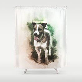 Jack Russell Terrier Digital Watercolor Painting Shower Curtain