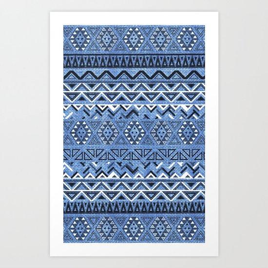 India Style Pattern (Blue) Art Print