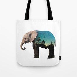 Elephant Double Exposure Tote Bag