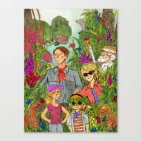 jurassic park Canvas Prints featuring Jurassic Park by Jennifer Chan