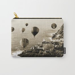 Flying Hot air Balloons over Newfoundland Monochrome Sepia color Carry-All Pouch
