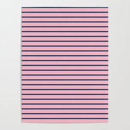 Pink and Navy Blue Horizontal Stripes Poster