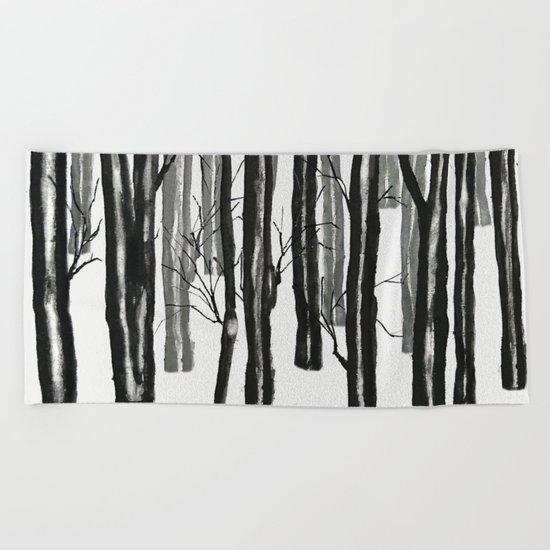 wood and snow Beach Towel