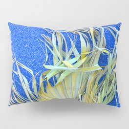 Fantasy Palm Frond On Lapis Blue Background Pillow Sham