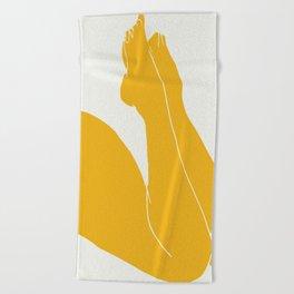 Nude in yellow 3 Beach Towel