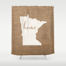 Minnesota is Home - White on Burlap Shower Curtain
