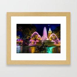 JC Nichols Memorial Fountain Night Colors on the Plaza Framed Art Print