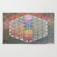 sacred geometry Area & Throw Rugs featuring Sacred geometry chakras by Cyndi Sabido