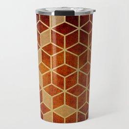Shades Of Orange and Dark Red Cubes Pattern Travel Mug