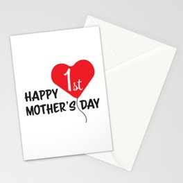 Happy First Mother's day Red Heart Balloon Stationery Cards