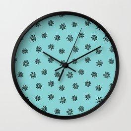 Teal Flower Doodles Wall Clock