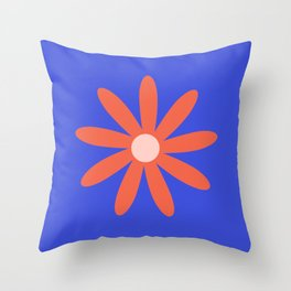 Flower Time 3 Minimalist Floral in Coral and Bright Blue Throw Pillow