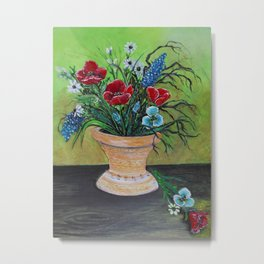 Pretty Poppy Bouquet Still Life Metal Print