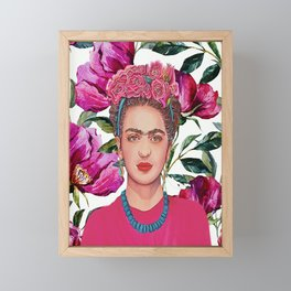 Woman with Crown of Flowers Framed Mini Art Print