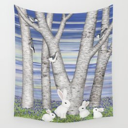 nuthatches, bunnies, and birches Wall Tapestry