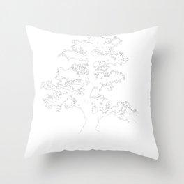 Meditative Japanese Buddha Tree Throw Pillow