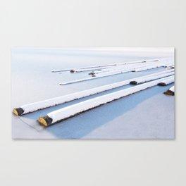 Snow frozen lake, snow covered logs, frozen, Lake, landscape Canvas Print