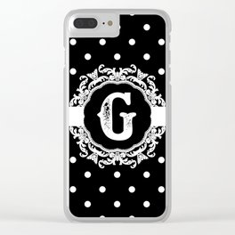 Black Monogram: Letter G Clear iPhone Case