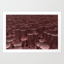 Pattern of red brushed metal cylinders Art Print