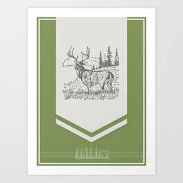 Lodge series - Deer (green) Art Print