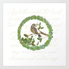 Winter Finch holiday wreath Art Print