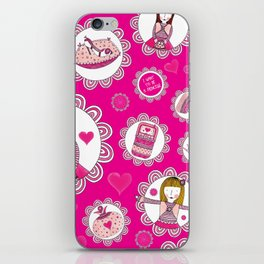 I want to be a princess! pink background iPhone Skin