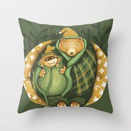 Cozy Bear Hug Cute Raccoon on Flower Couch Throw Pillow