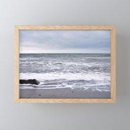 Cloudy Day on the Beach Framed Mini Art Print