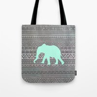 mint Tote Bags featuring Mint Elephant  by Sunkissed Laughter