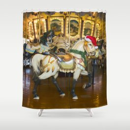 Holiday Carousel Horse Shower Curtain