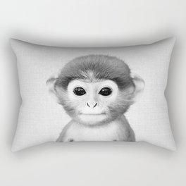 Baby Monkey - Black & White Rectangular Pillow
