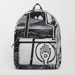 The Hand - Abstract Surreal linocut Backpack
