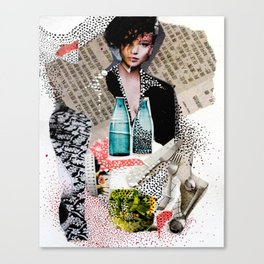 Two Bottles - Magazine Collage Painting Canvas Print