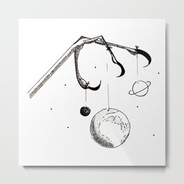 Queen of the Planets - Black Ink Metal Print