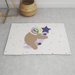 Sloth Astronaut on Shooting Star Rug