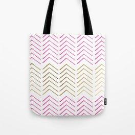 Pink faux gold watercolor tribal chevron pattern Tote Bag