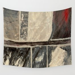 Textured Marble Popular Painterly Abstract Pattern - Black White Gray Red Wall Tapestry